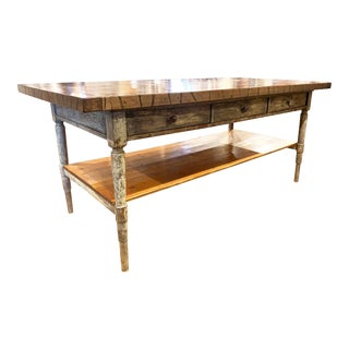 Large Distressed Gray Painted Rail Car Plank Top Kitchen Island For Sale