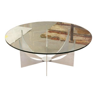 Mid Century Modern Donald Drumm Glass Brushed Aluminum Round Coffee Table 1970s For Sale