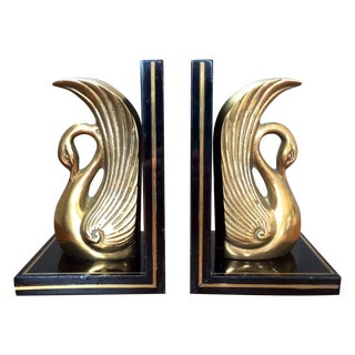 Vintage Brass Swan Bookends For Sale
