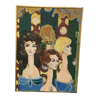 """1960s """"New York City, Wig Shop Store Front"""" Mid-Century Modern Oil Painting For Sale"""