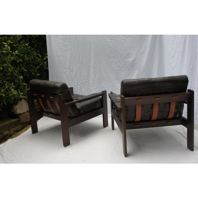 1960s Vintage Moveis Corazza Brazil Distressed Leather and Jatoba Wood Club Armchairs - a Pair For Sale In Washington DC - Image 6 of 11