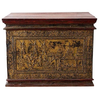 19th Century Burmese Gilt Mosaic Lacquer Trunk For Sale