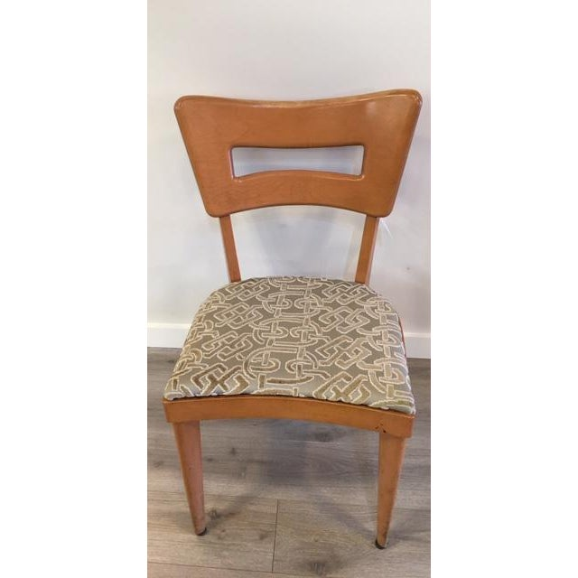 """1950s Heywood Wakefield Set of Six """"Dog Biscuit"""" Dining Chairs For Sale - Image 5 of 7"""