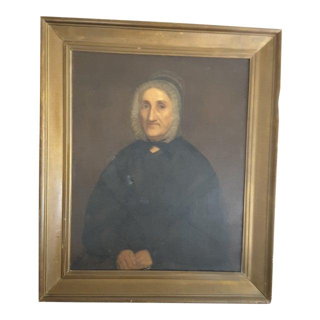 Antique Gothic Maiden Portrait Oil Painting For Sale