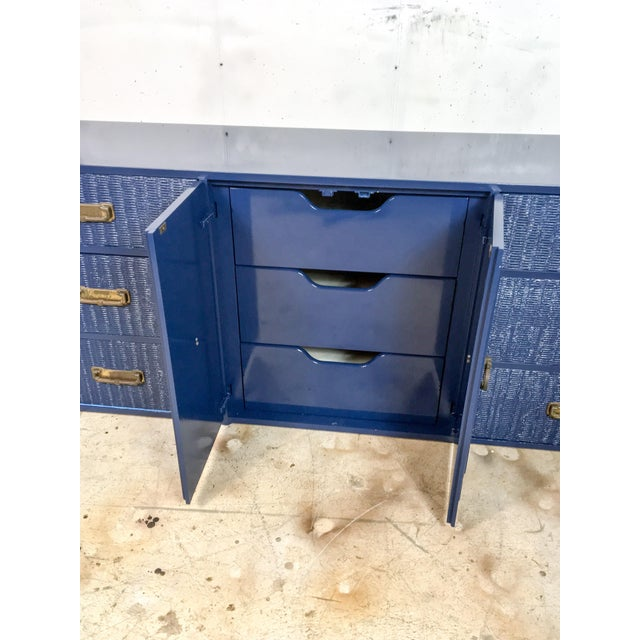 1960s 1960's Campaign Style Navy Lacquered Credenza For Sale - Image 5 of 6