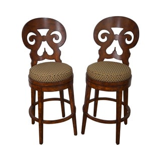 Biedermeier Style Swivel Bar Stools - A Pair