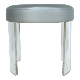 Oval Lucite Vanity Stool With a Silver Metallic Upholstered Seat Cushion For Sale