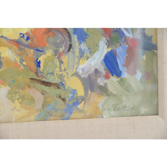 Mid-Century Modern Mid Century Abstract Oil Painting, Framed Behind Glass by Listed Artist Jerry Krellenstein For Sale - Image 3 of 5