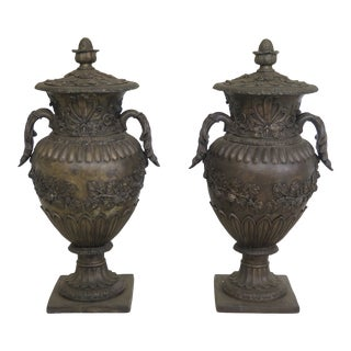 Pair Bronze Classical Lidded Urns With Grapevine Details For Sale