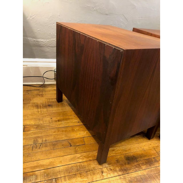 Brown Pair of Mid Century Walnut Nightstands 196s For Sale - Image 8 of 11