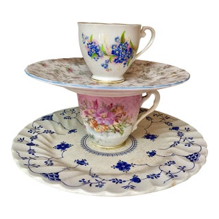 Tiered English Cups & Saucers - Set of 4