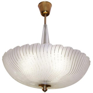 Orrefors Tiered Glass Chandelier with Wavy Strips & Scallop Edge