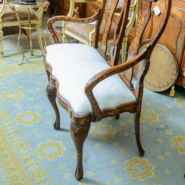 Queen Anne Late 19th C. Dutch Settee For Sale - Image 3 of 11