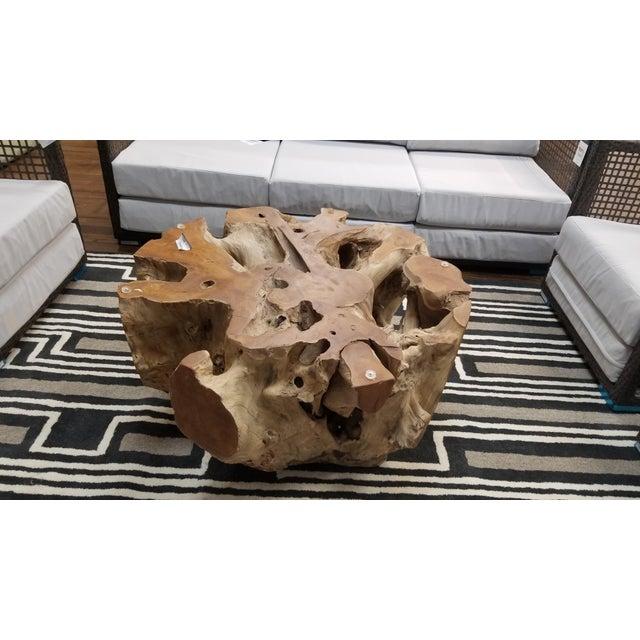 Brown Organic Modern Tera Teak Wood Coffee Table For Sale - Image 8 of 8