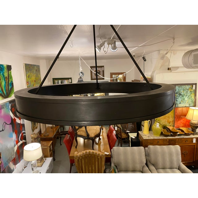 Design Plus Gallery presents a Ralph Lauren Roark Ring Chandelier. Finish is an aged iron to give an old world feel in a...