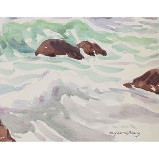 Pale California Seascape in Watercolor, 20th Century