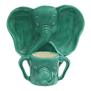 Midcentury Elephant Childs Plate with Cup - 2 Pieces For Sale
