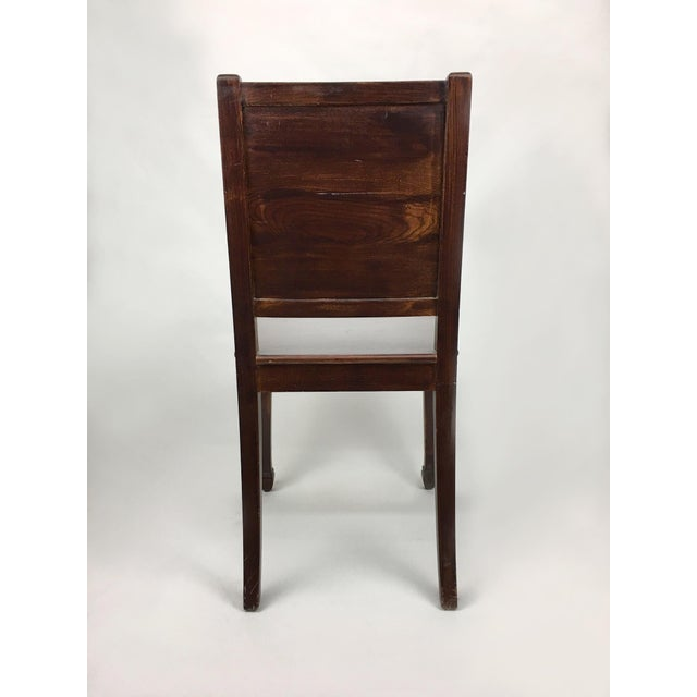 Vintage hall chair with dog crest backrest design and natural cracks in  brown. The piece - Early 20th Century Antique Hall Chair Chairish