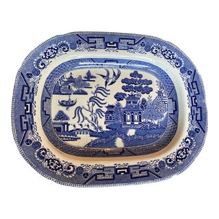 19th Century Chinoiserie Blue and White Platter For Sale