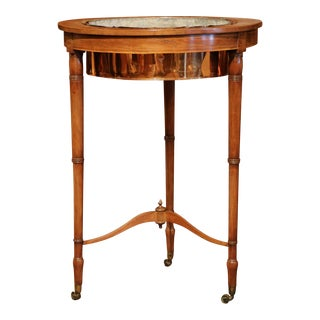 19th Century English Carved Plant Stand on Wheel With Copper Bowl and Zinc Liner For Sale