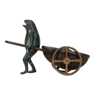 Brass Frog & Cart Figurine For Sale