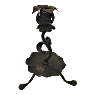 Victorian Hand Forged Wrought Iron Candlestick For Sale