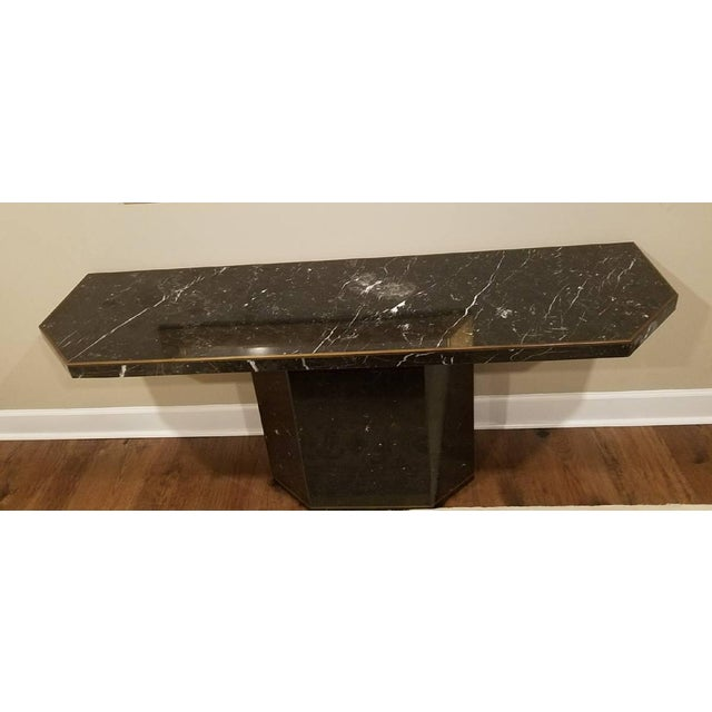 Marble With Brass Inlay Console Table - Image 8 of 9