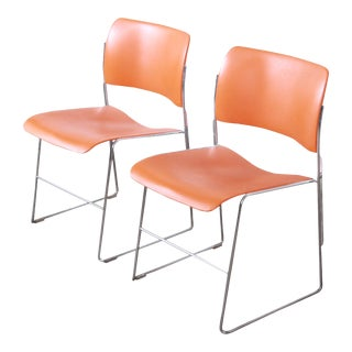 David Rowland 40/4 Orange and Chrome Stacking Chairs, Pair For Sale