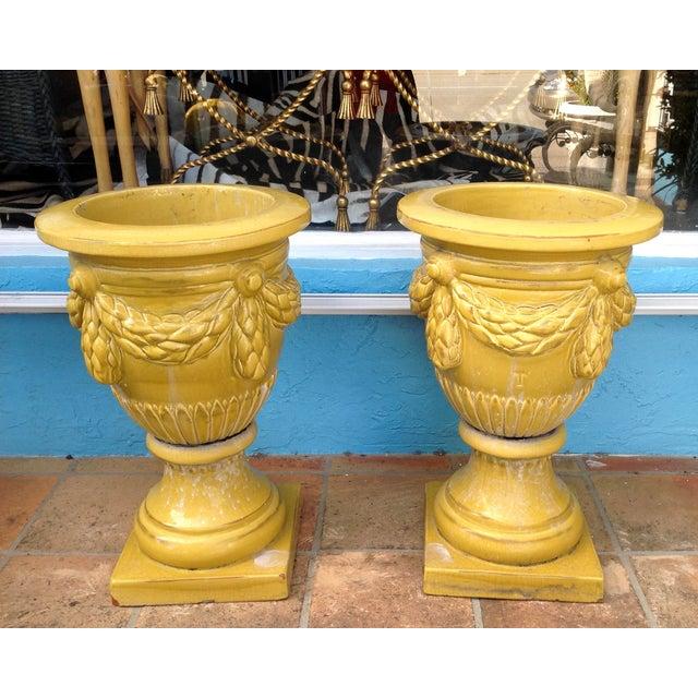 Pair of Massive Glazed Terracotta Garden Urns For Sale - Image 4 of 13