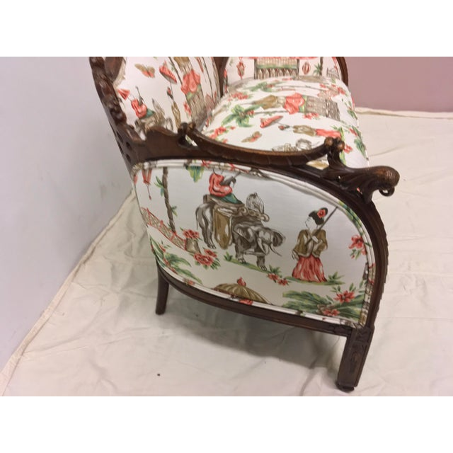 1930s Chinoiserie Carved Pagoda Settee - Image 5 of 9