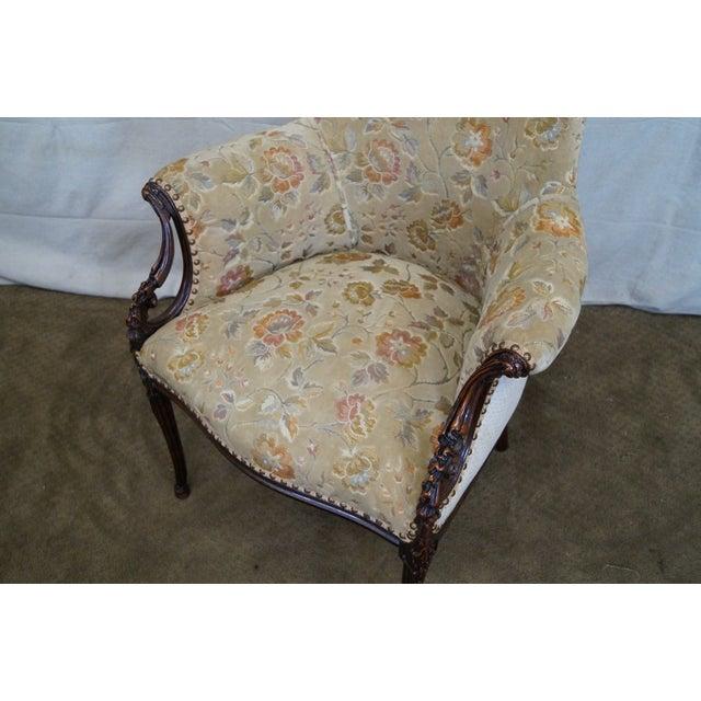 Vintage Mahogany Carved Fire Side Host Wing Chairs - Image 5 of 10