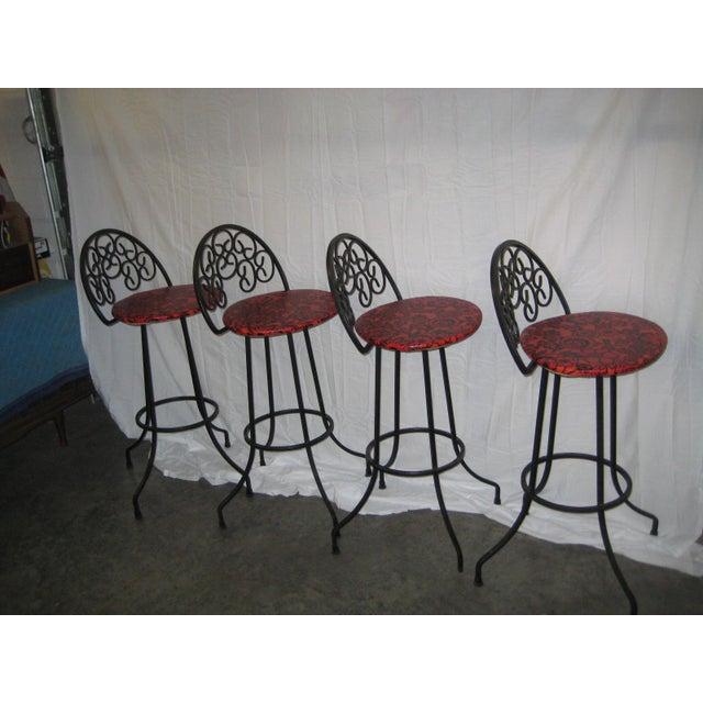 Arthur Umanoff Mid-Century Iron Bar Stools - Set of 4 For Sale - Image 10 of 10