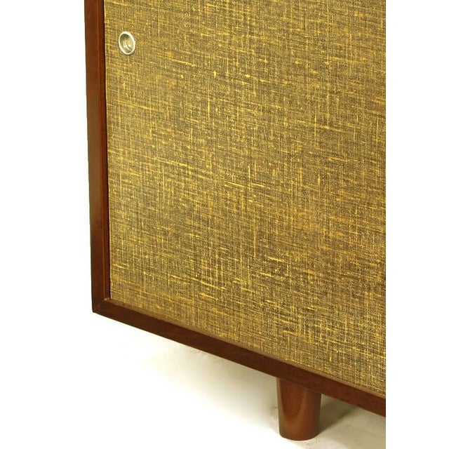 Birch Walnut & Lacquered Linen Front Nine-Drawer Cabinet For Sale - Image 7 of 10