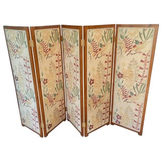 5 Panel Upholstered Screen Room Divider by Josef Frank For Sale