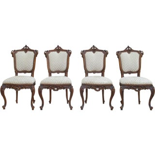 Antique Italian Carved Walnut Dining Chairs - Set of 4