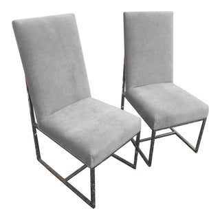 Vintage Mid-Century Modern Chrome & Velour Dining Chairs- A Pair For Sale