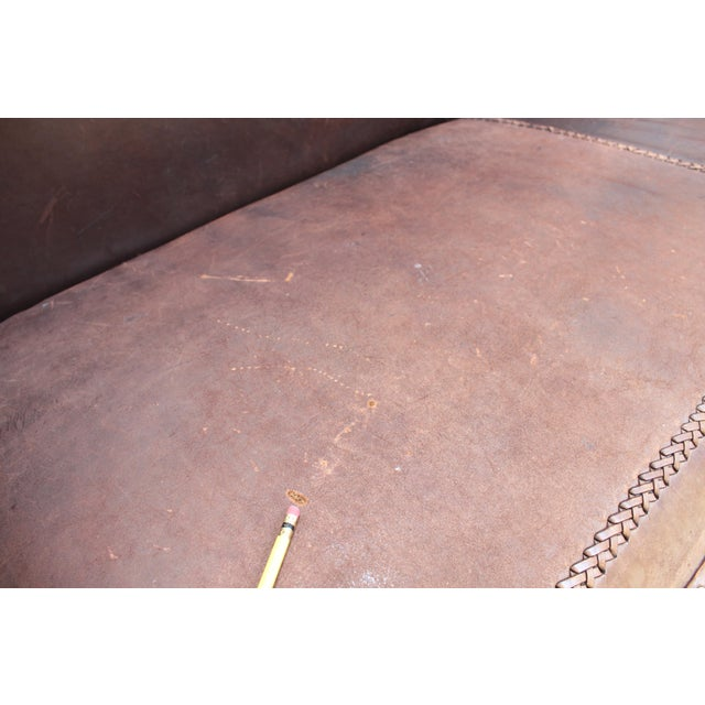 Mahogany Chippendale Bench Sofa - Cape Buffalo Leather For Sale - Image 10 of 12