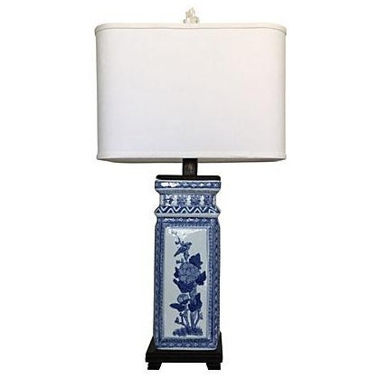 1950s Blue & White Porcelain Vase Lamp - Image 1 of 9