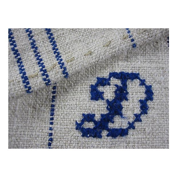 Hand-Spun, Embroidered French Blue Tea Towels - 6 - Image 4 of 5