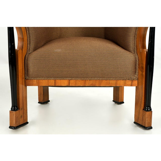 Pair of Ebonized Biedermeier Tub Arm Chairs, Circa 1825 For Sale - Image 4 of 10