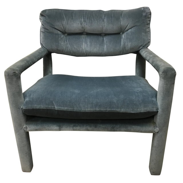 Milo baughman style parsons lounge chair chairish for What is a parsons chair style