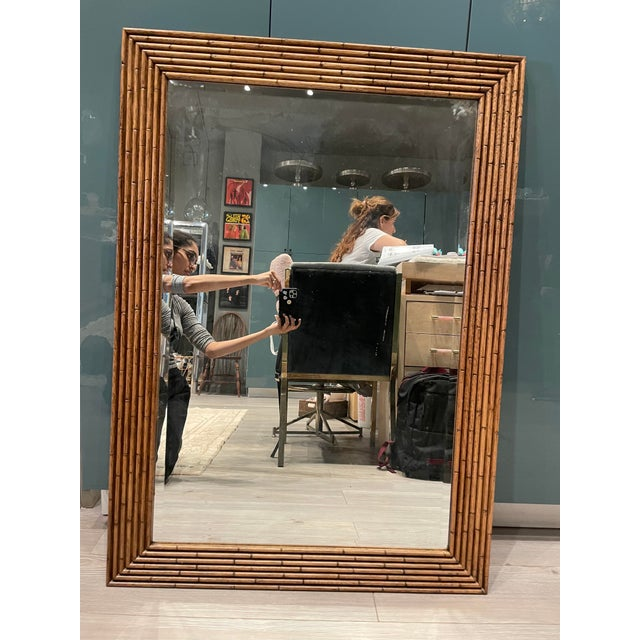 Vintage Walnut Bamboo Mirror For Sale In Los Angeles - Image 6 of 6