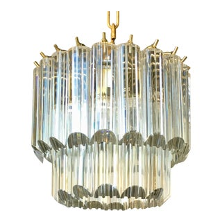 1960s Mid Century Modern Tiered Lucite Waterfall Chandelier Light Fixture, Italy For Sale
