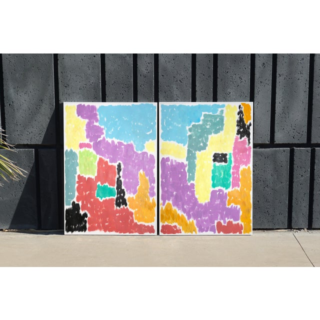 Leaving the City Diptych Abstract Shapes Cityscape Painting by Natalia Roman For Sale - Image 11 of 12