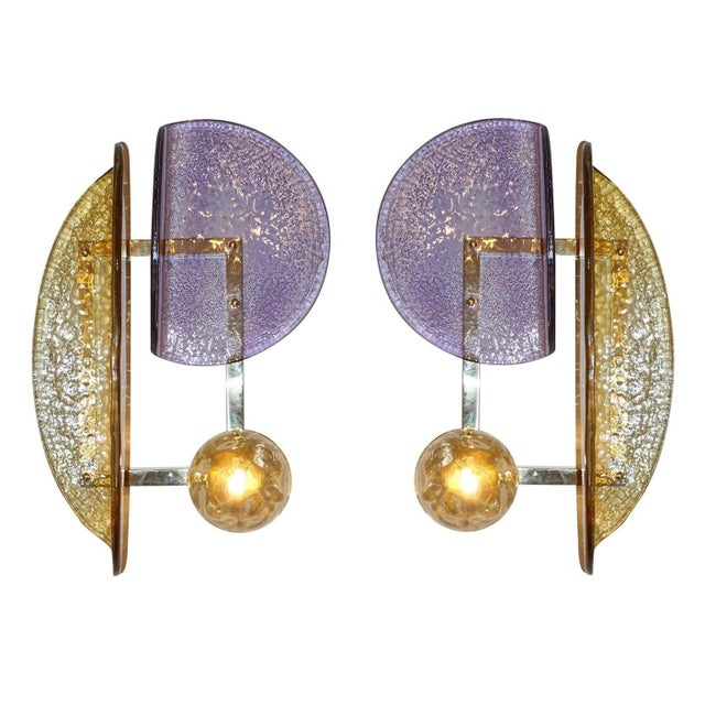 One of a kind pair of geometric wall lights / Each wall light is composed of three Murano glass elements in purple, dark...