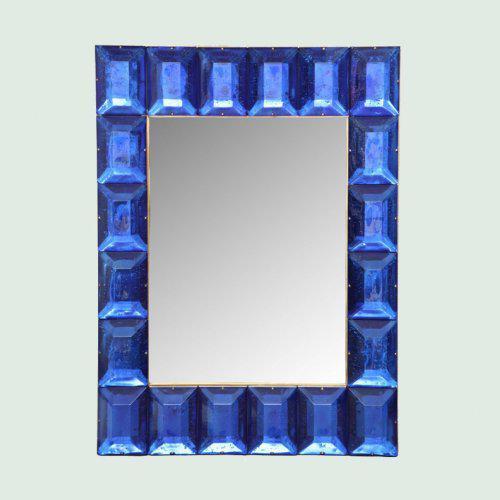 Cobalt Blue Diamond Murano Glass Mirror For Sale In Miami - Image 6 of 6