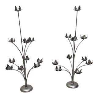 1970s Tall Italian 10 Candle Silver Tole Candelabras - a Pair For Sale