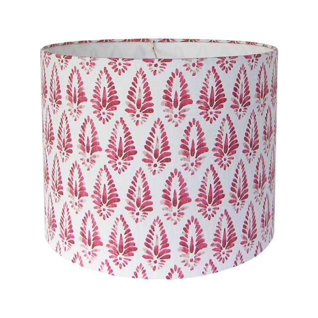 Red Patterned Lamp Shade For Sale - Image 5 of 5