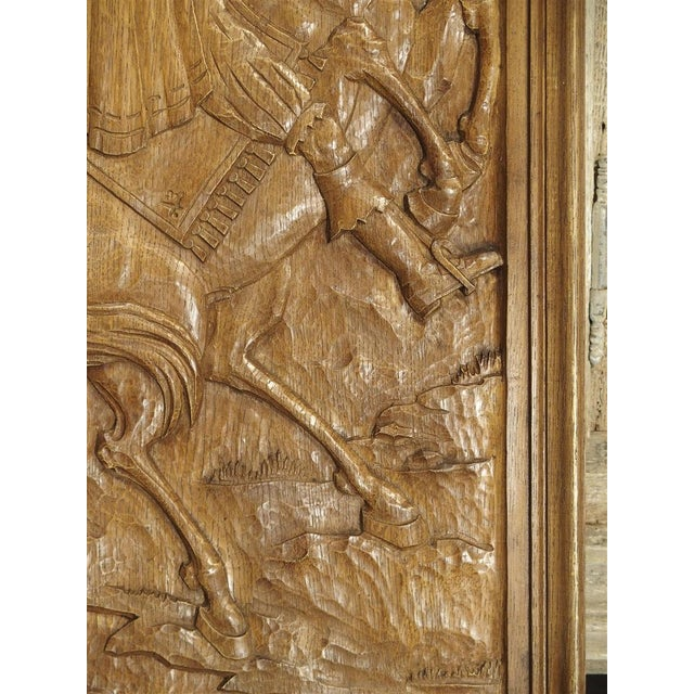 From Belgium, this group of three hand carved panels depict different indoor and outdoor scenes. The panels have been...