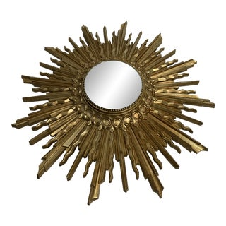 Wood Star Burst Convex Mirror For Sale